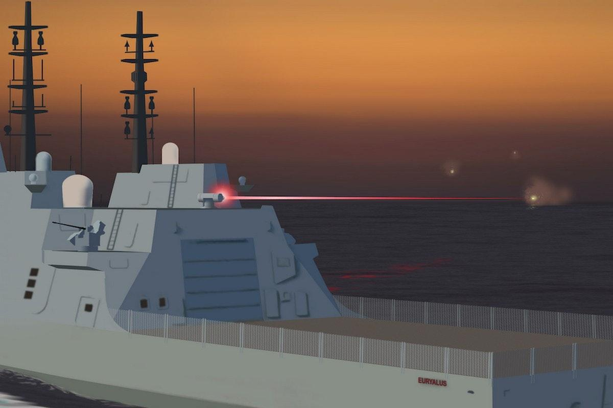 Artist's rendering a ship-borne laser weapon