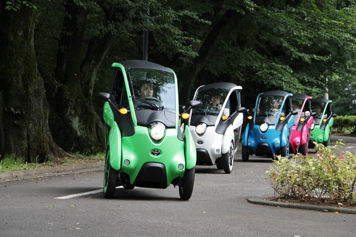 A fleet of i-Roads on the move in Japan