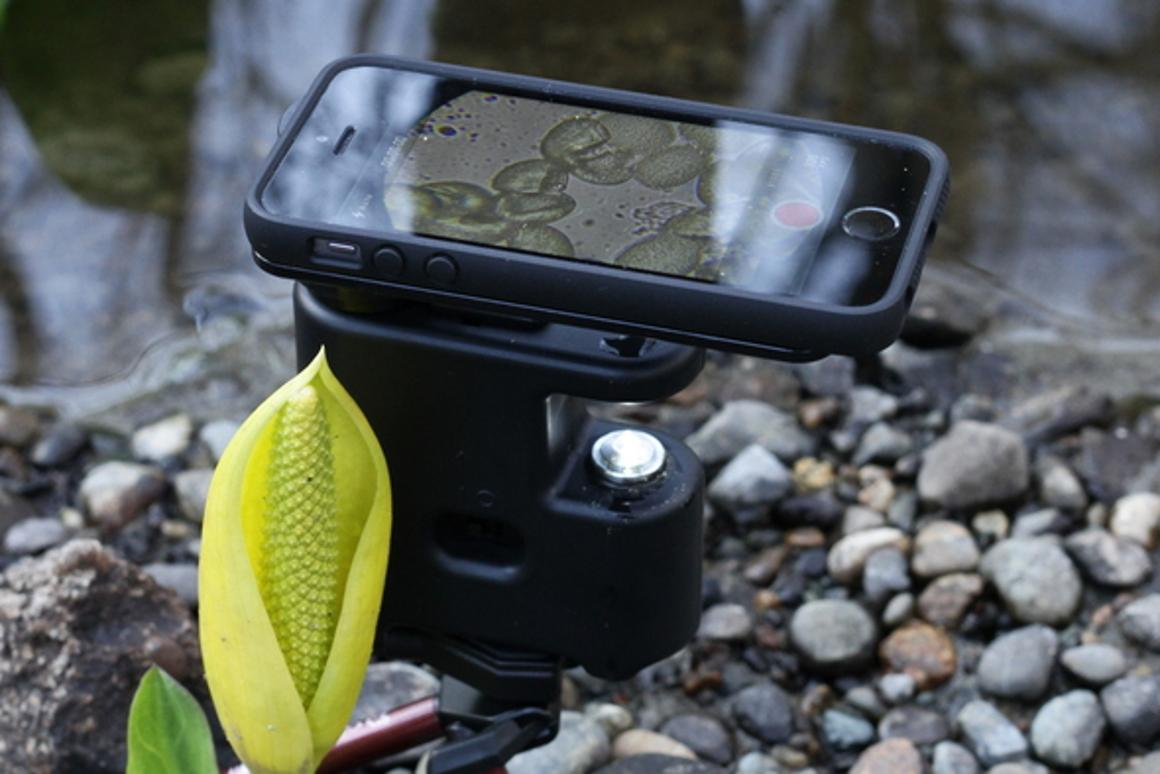 The MicrobeScope is a mini microscope designed for use with the iPhone
