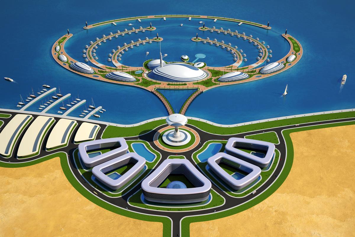 Amphibious 1000, Qatar's Italian designed Floating Resort (Image by Giancarlo Zema Design Group)