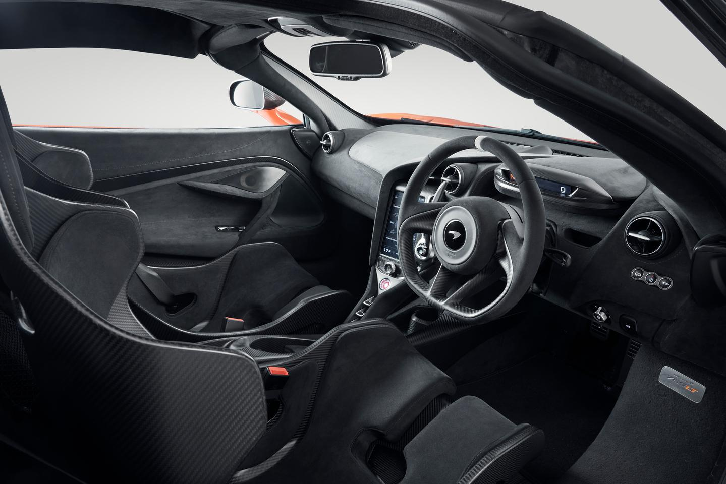 A typically stripped-back McLaren cabin with the addition of carbon racing seats
