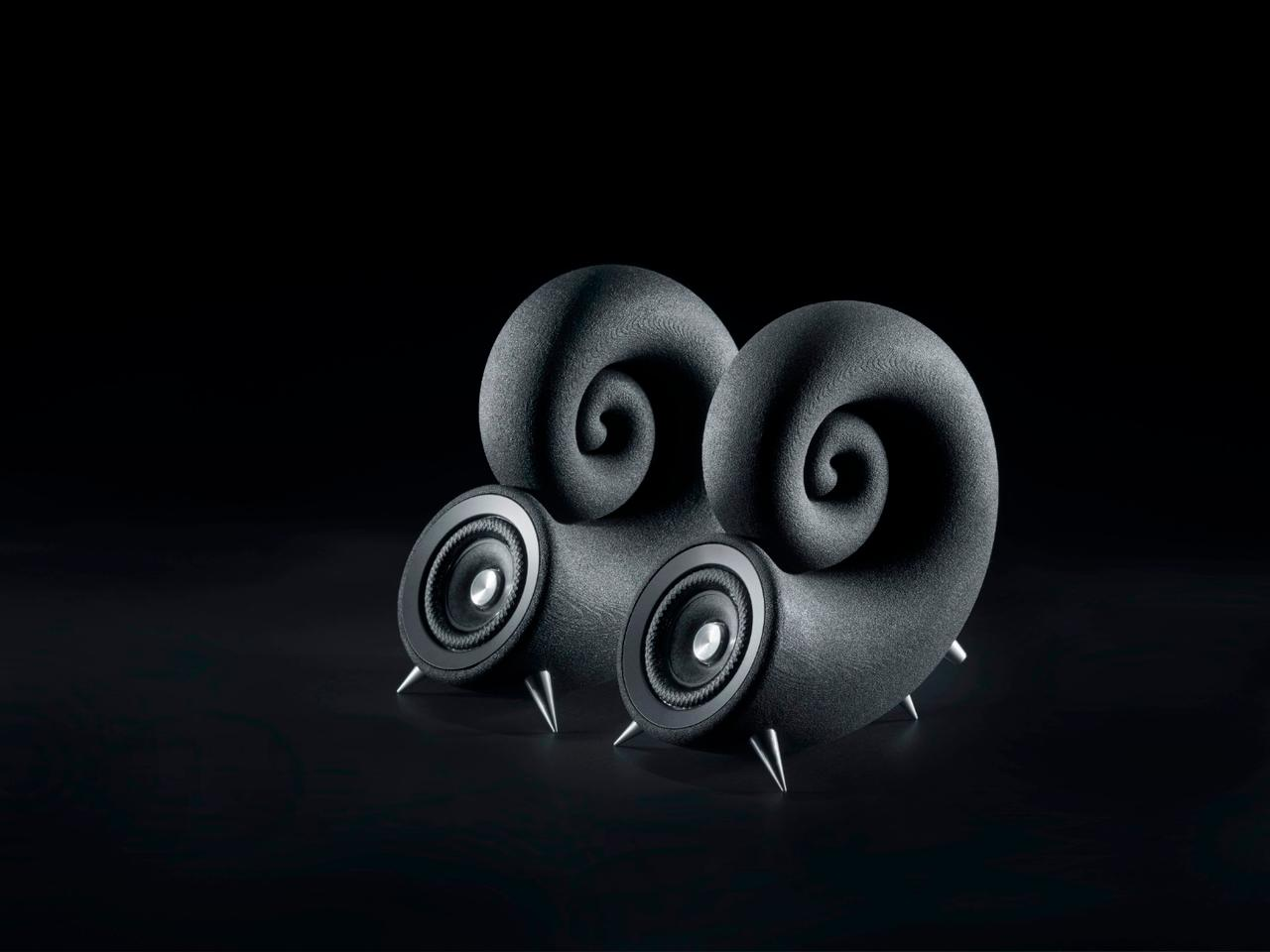 The Spirula speakers stand on metal spikes for minimum contact with the surface on which they stand