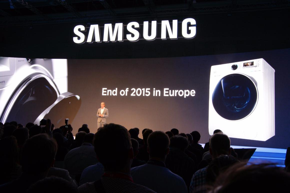 Samsung's Dan Harvie reveals that the AddWash machine will be released in Europe by the end of 2015