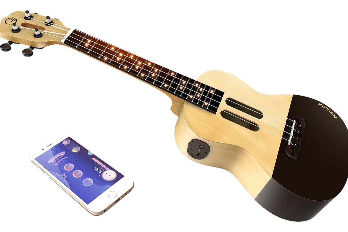 The Populele learning system is made up of two parts: a smartphone or tablet running a companion app and a ukulele with LED's embedded in the neck