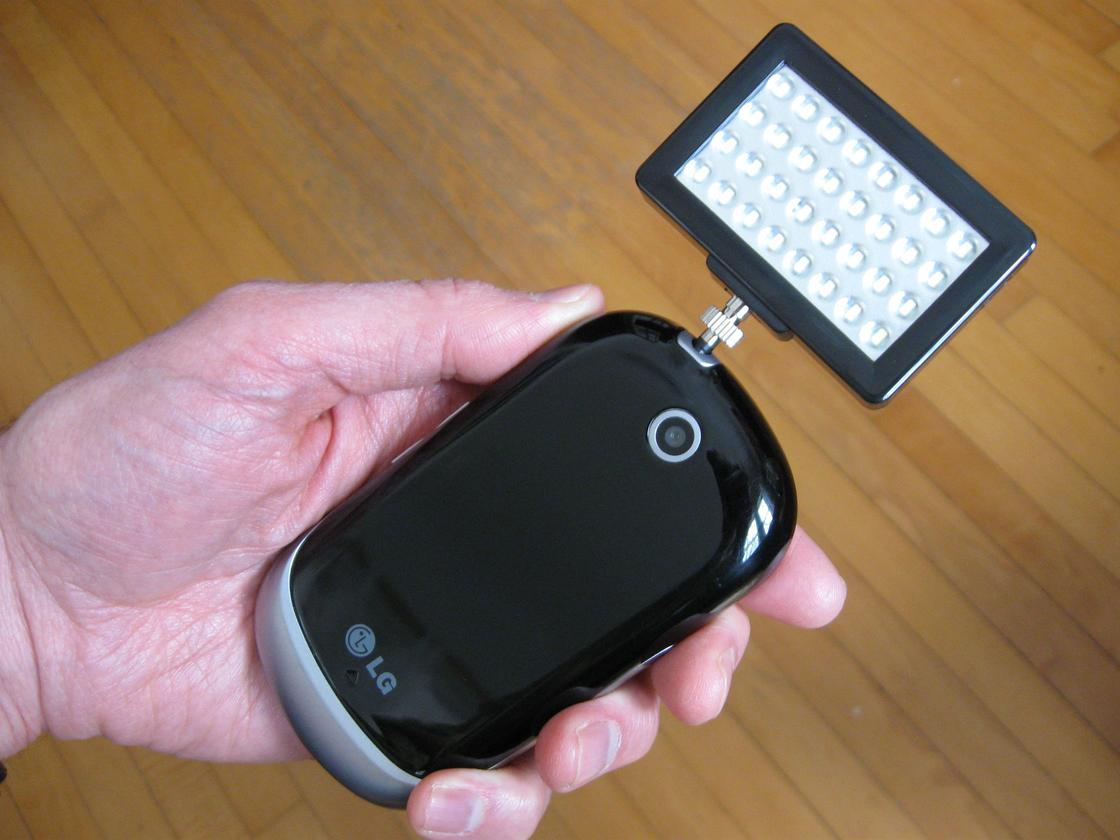 The Pocket Spotlight mounted on my pathetic smartphone