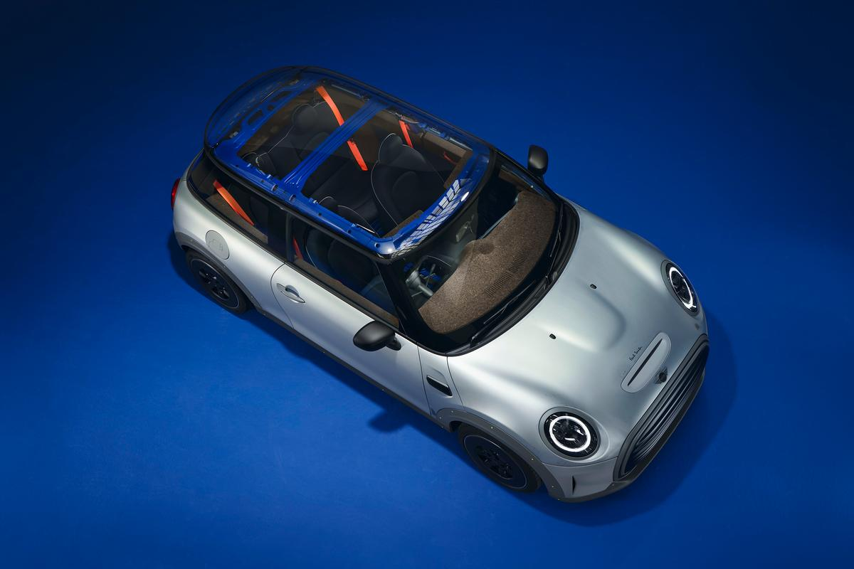 The Mini Strip's Perspex roof provides a view of the bare structural metal and interior cork trim
