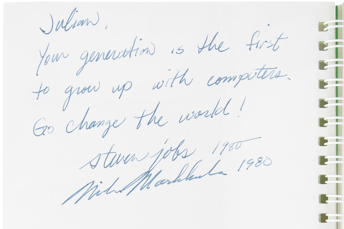 This Apple II Manual signed by Steve Jobs was estimated to sell for $25,000+ when it went to auction at RR Auction on 17 August 2021. It sold for $787,484 (including Buyers Premium)