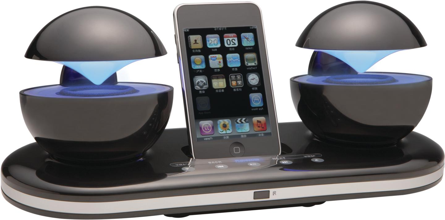 The iCrystal iPod docking station features futuristic illuminated spheres