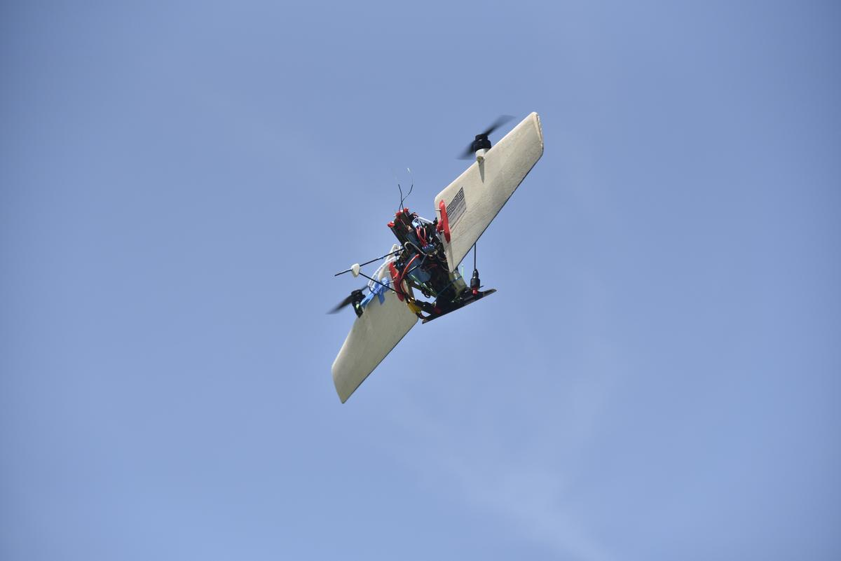 The THORprototype can transition from hover to fixed-wing cruise mode by rotating its wings into alignment