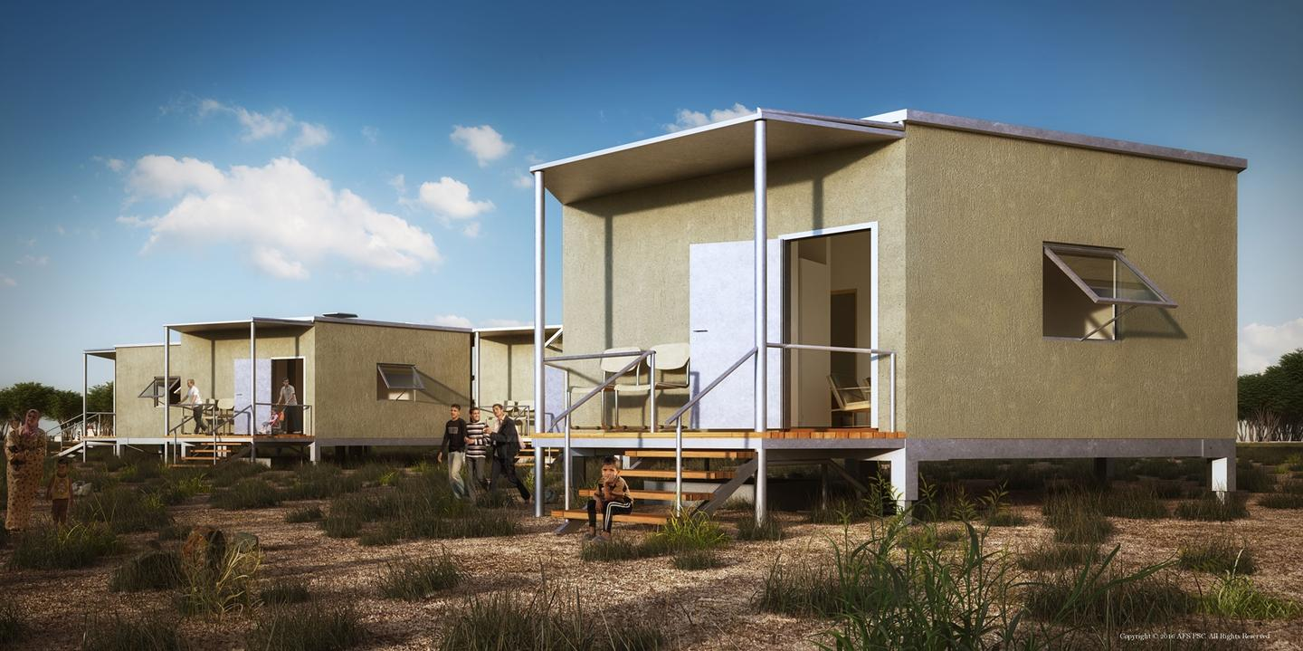 The main components for the shelter include galvanized tube steel for the base, and structural insulated panels (SIPs) for the walls, floor and roof