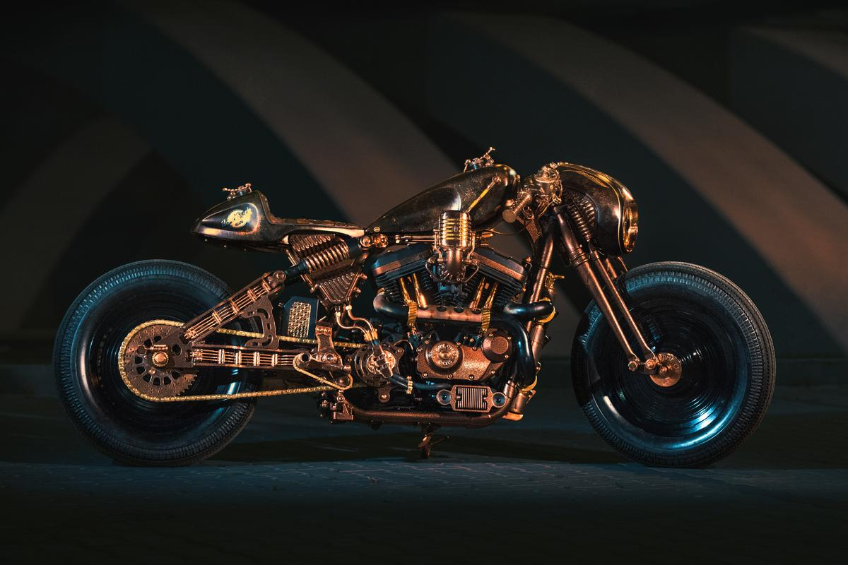The Hard Rock Cafe Racer custom Harley created by Game Over Cycles