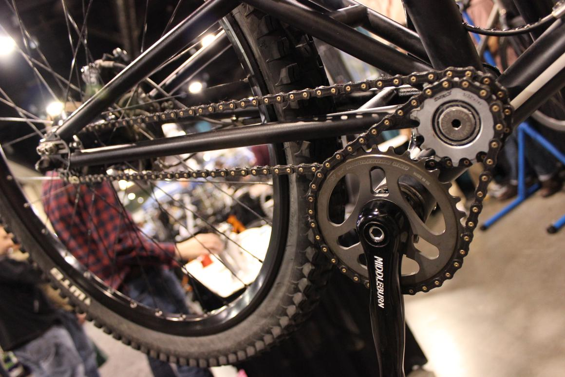 A close view of Cycle Monkey's wacky dual-chained drive train