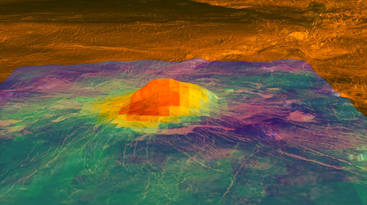 Colored overlay of a volcano on Venus shows the heat patterns derived from surface brightness data collected by the Visible and Infrared Thermal Imaging Spectrometer (VIRTIS), aboard the European Space Agency's Venus Express spacecraft