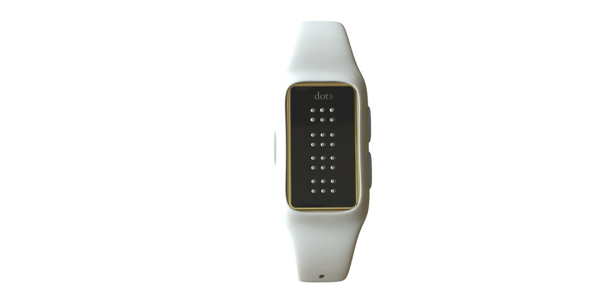 Dot is a Braille smartwatch that lets visually impaired users read information in real-time with a refreshable Braille display