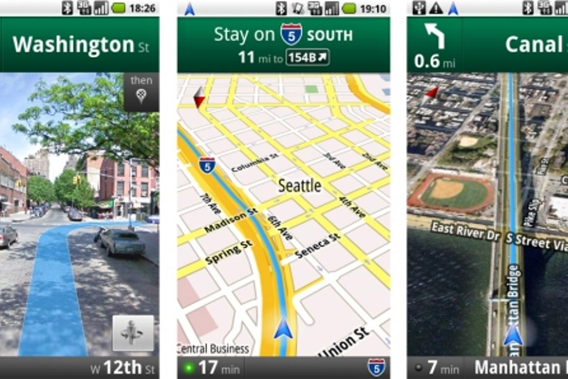 Google announces free turn-by-turn maps app for Android ... on google earth android, youtube android, google quick search box android, google maps mobile, google chrome android, quickoffice android, google play android, google voice search android, google calendar android,