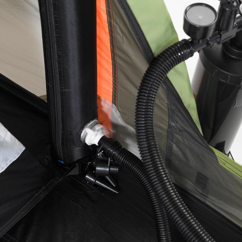 The included double-action pump is all you need to get the tent standing