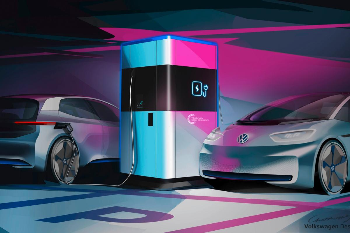 Up to four electric vehicles can plug into VW's mobile charging station at the same time