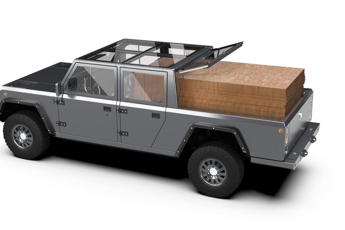 Stack 'em high - Bollinger says the B2 pickup will be able to carry up to 72 pieces of 4 x 8 plywood
