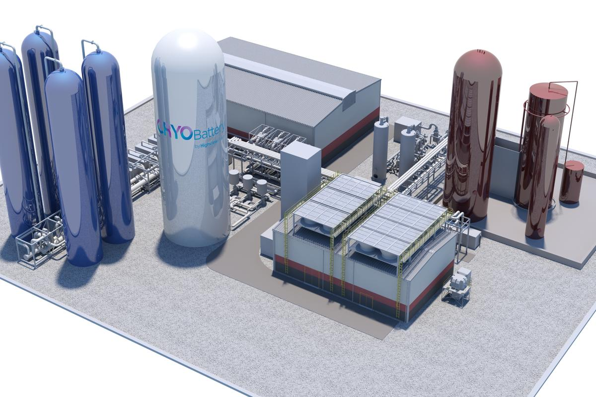A rendering of the 50-MW/250-MWh CRYOBattery