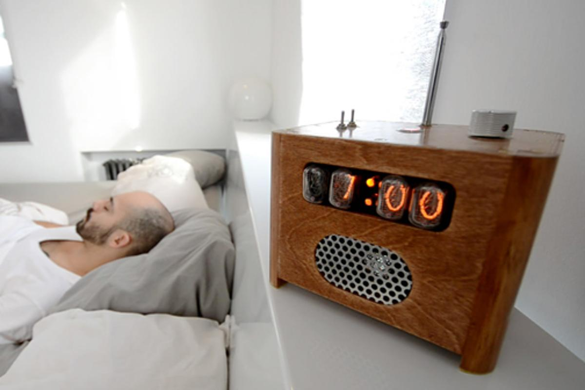 The Ramos clocks designed by Paul Sammut require a snoozer to get out of bed and enter a code on a number pad located in another room to silence the alarm buzzer