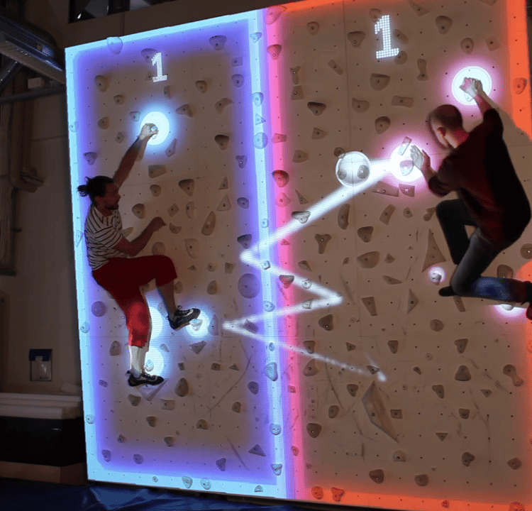Augmented Climbing's Climball: pong where you are the paddles