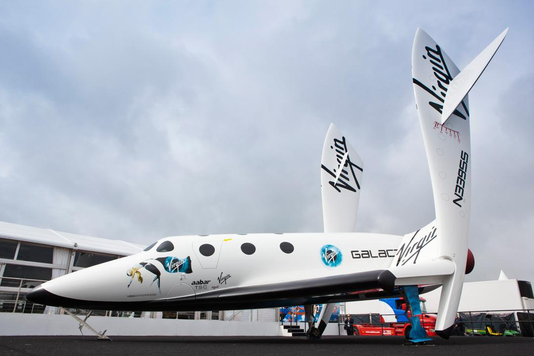 A replica of SpaceShipTwo on display at Farnborough Airshow (Photo: Mark Chivers/Virigin Galactic)