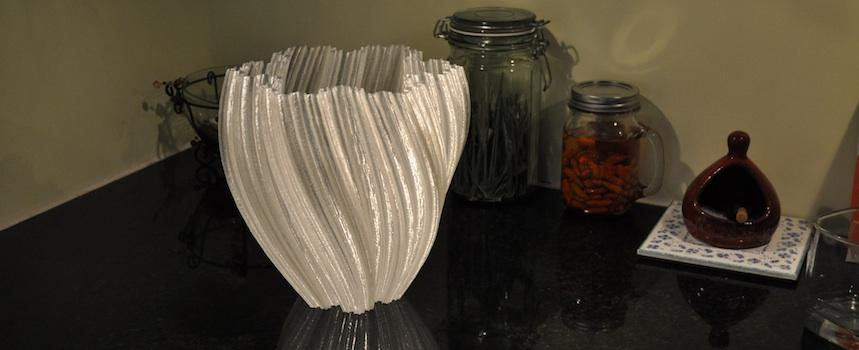 A 3D-printed vase showcases the large build envelope of the Gigabot, re:3D's large format 3D printer