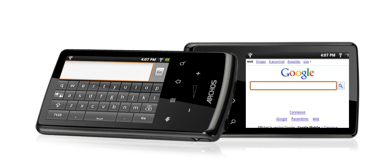 The Archos 28 Tablet accessing the web via its 2.8-inch, 320 x 240 resolution touchscreen display