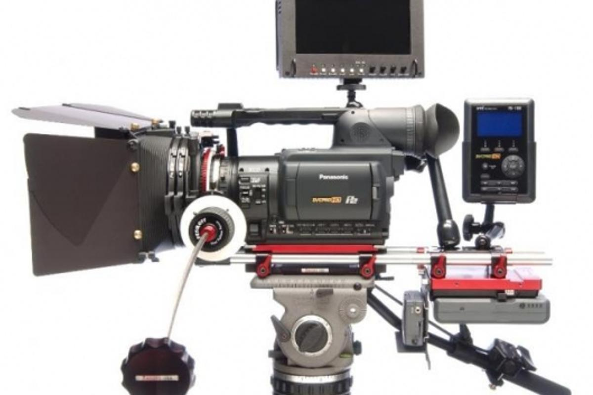 Panasonic's AG-HVX200 digital video camera, with Zacuto accessories.