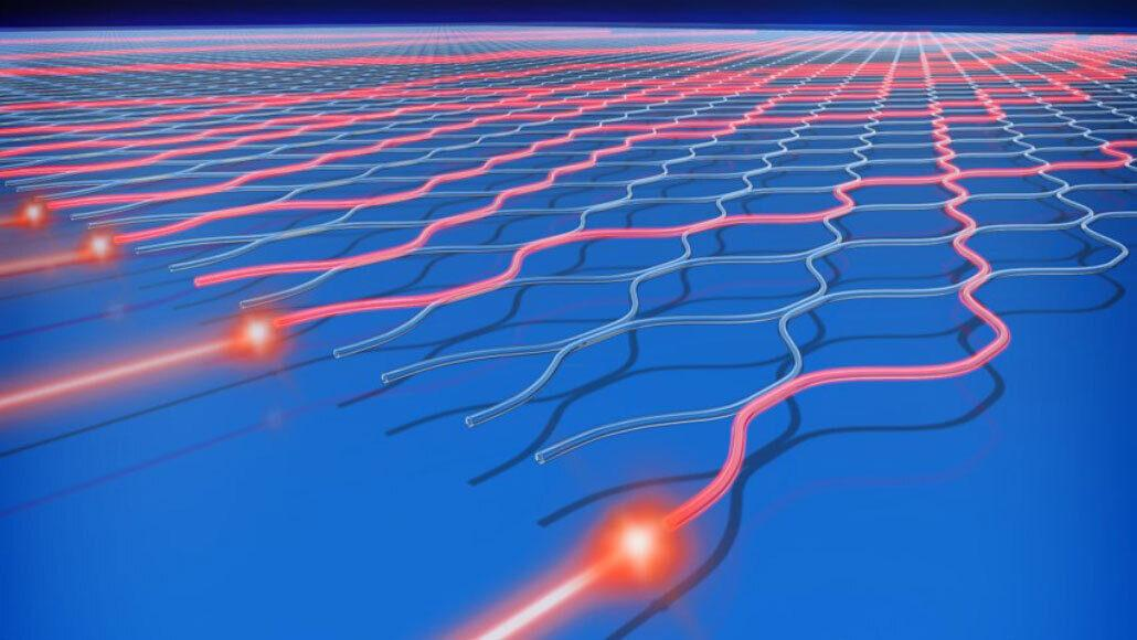 A diagram of an optical circuit, where photons (red) are sent through a maze of beam splitters and mirrors and a quantum computer like Jiuzhang calculates the output