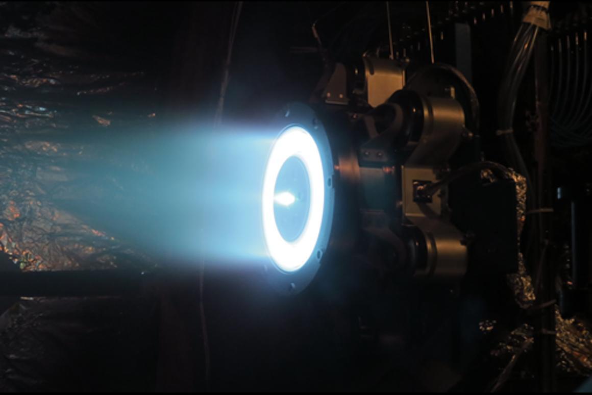 Aerojet Rocketdyne's Advanced Electric Propulsion System thruster demonstrates full power operation at the Jet Propulsion Laboratory in Pasadena, California