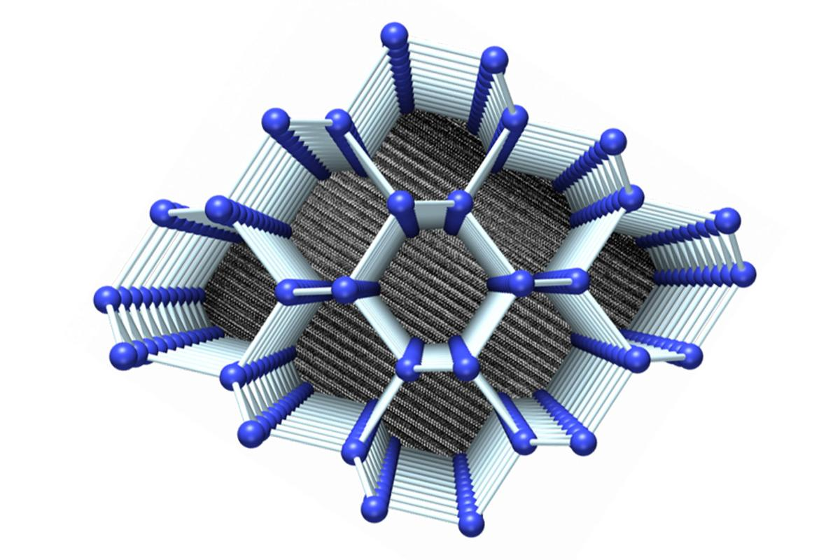 An artist's illustration of the atomic structure of the new 4H-silicon allotrope