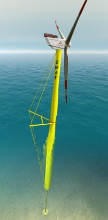 The floating tower is anchored to the seabed with a single pipe and a suction anchor