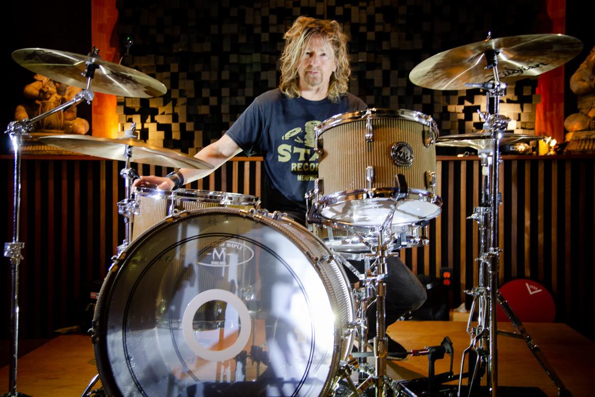 The cardboard-encased drums were thoroughly beaten up by Eric Kretz from Stone Temple Pilots