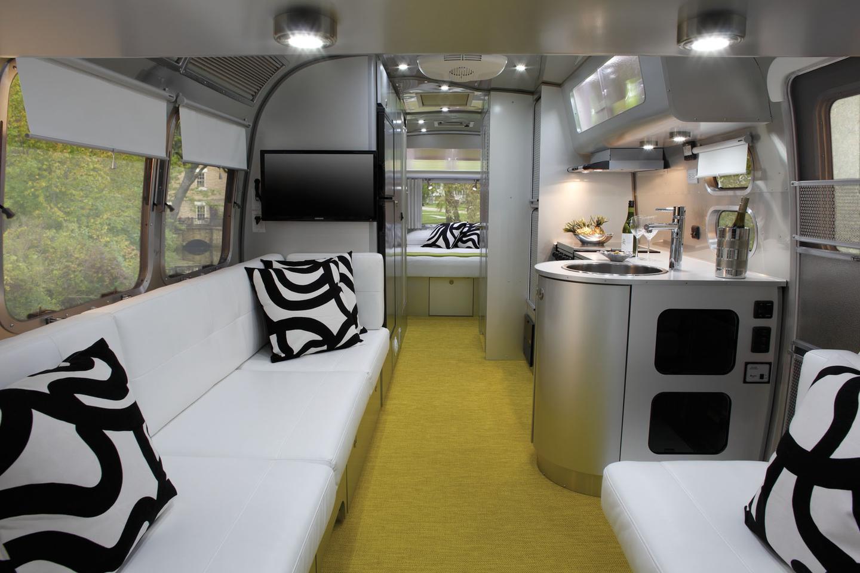 The Airstream International Sterling's interior goes metallic