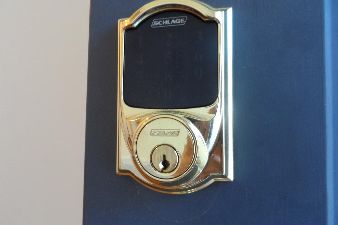 The keypad and backup key area for the Deadbolt