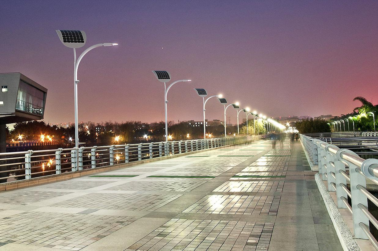 Each time a person steps on a kinetic tile, up to 7 W of power is generated for the EnGoPLANET Street Light
