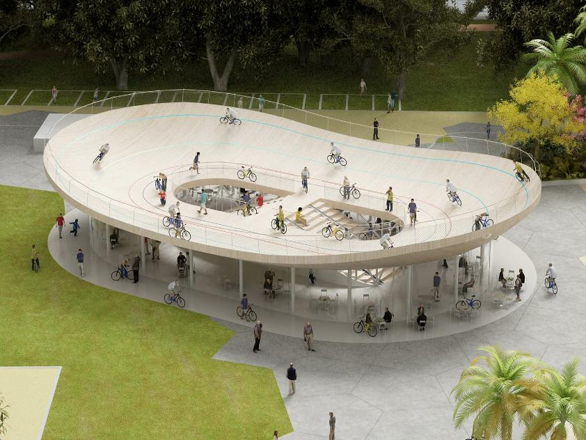 In a move likely to inflict a sudden pang of inadequacy in bicycle clubs the world over, NL Architects has cooked up a concept both radical and supremely simple: a bicycle club with a velodrome on the roof