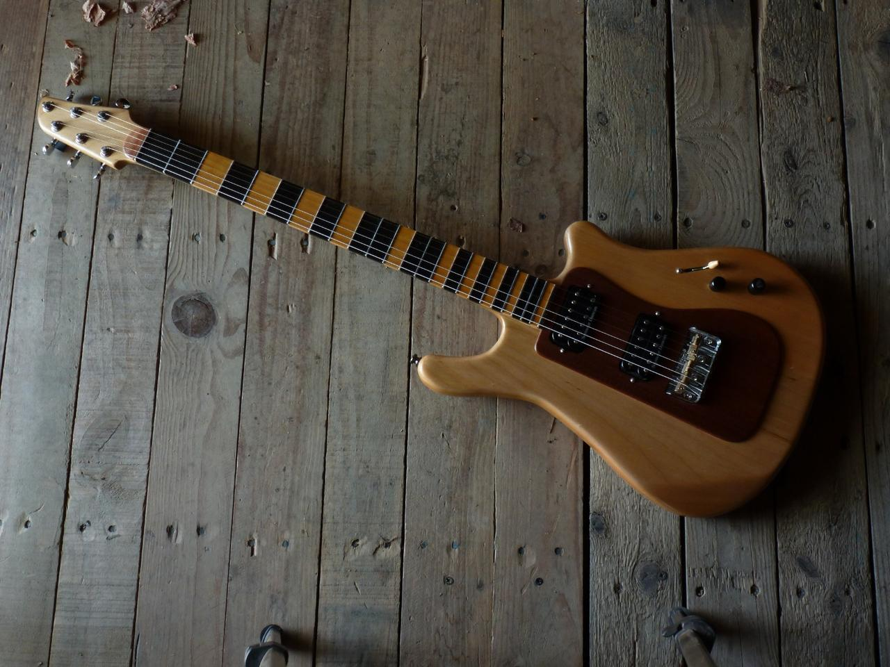 From the top, the prototype Subfretboard guitar looks pretty much like any other