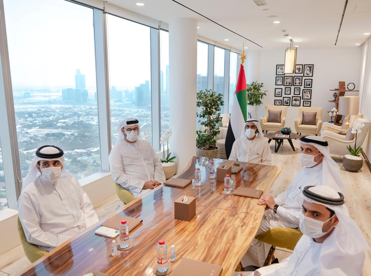 Emirati leaders gathered to discuss the Emirates Lunar Mission
