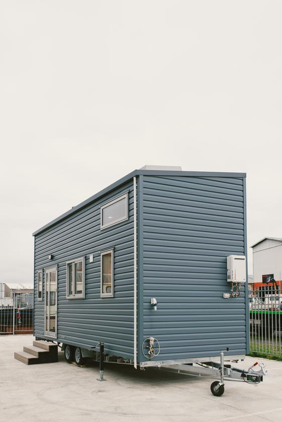 The Sonnenschein Tiny House features vinyl siding