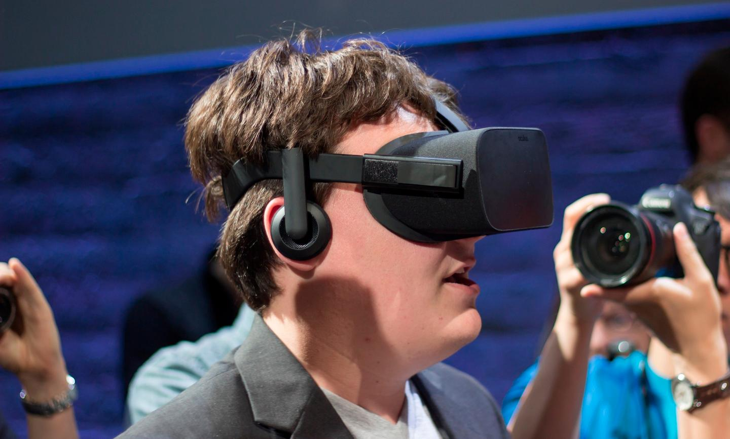 Oculus founder Palmer Luckey modelling the consumer Oculus Rift at a 2015 launch event