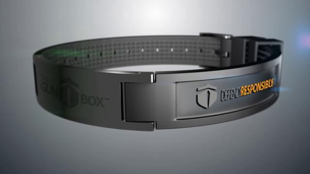Once a firearm is secured safely inside, gun owners can unlock the Gun Box with an RFID-equipped bracelet (or ring), via a fingerprint scan, or a combination of the two