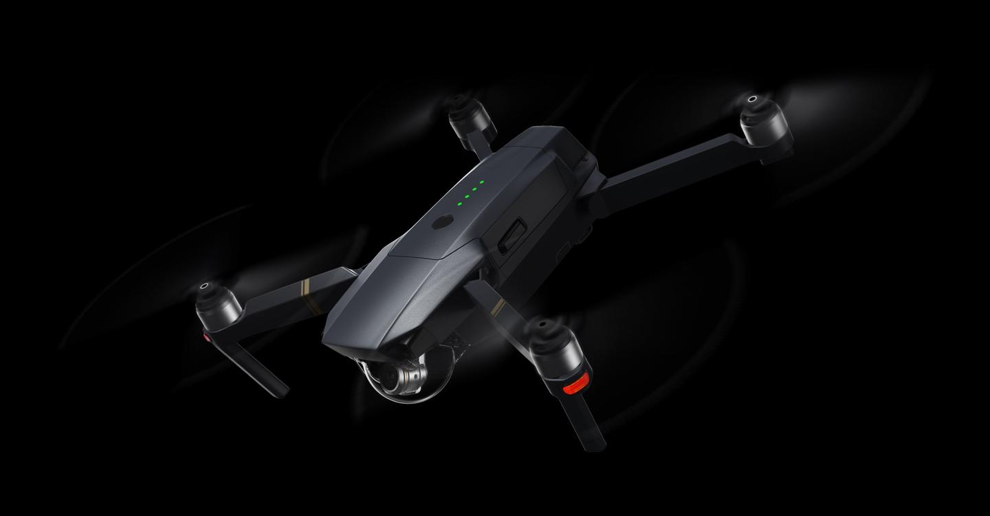The Mavic Pro's camera sits on DJI's smallest-ever three-axis gimbal
