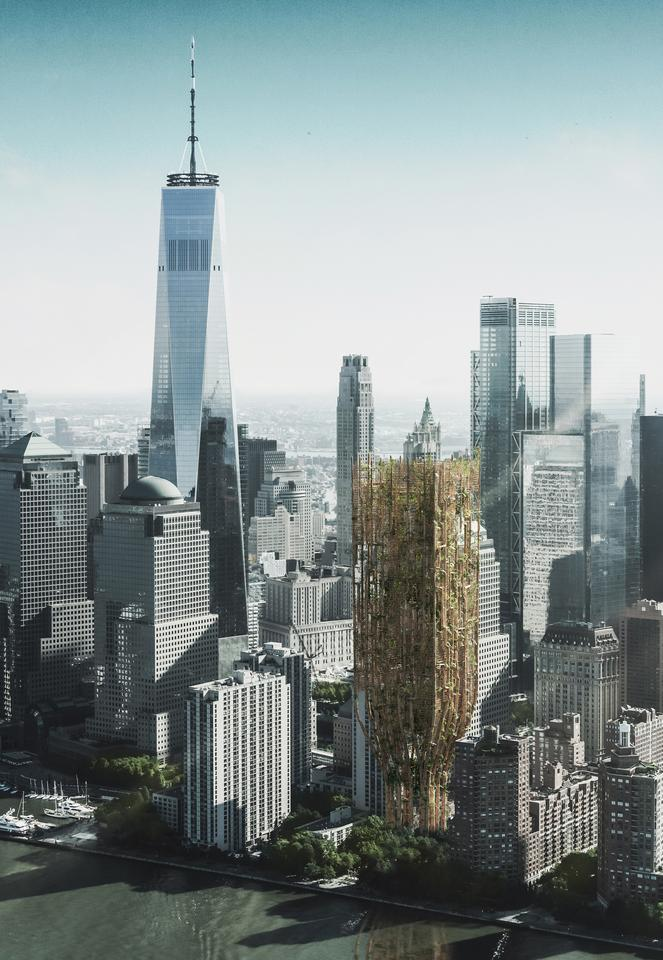 Living Skyscraper For New York City was designed by Andrii Lesiuk, Mykhaylo Kohut, Sofiia Shkoliar, Kateryna Ivashchuk, Nazarii Duda, Mariia Shkolnyk, Oksana-Daryna Kytsiuk, and Andrii Honcharenko. They won the 2021 eVolo Skyscraper Competition for their idea to use genetically modified trees to create a sustainable skyscraper