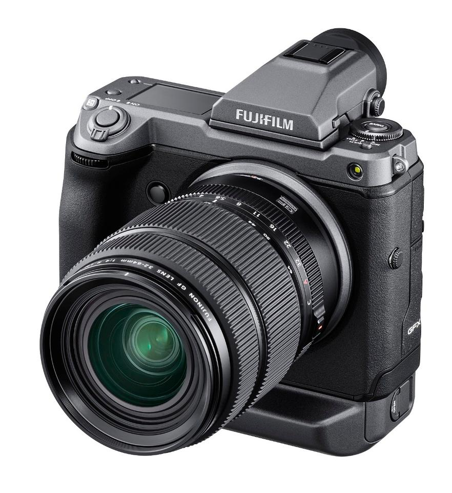 The GFX100 features a detachable Electronic Viewfinder and is compatible with Fujifilm G Mount lenses