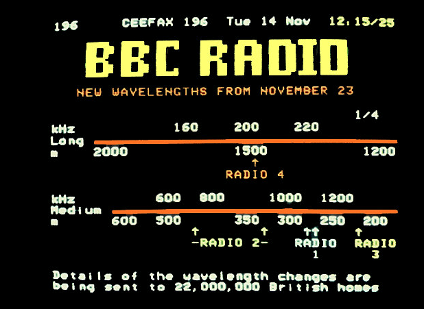 A Ceefax page