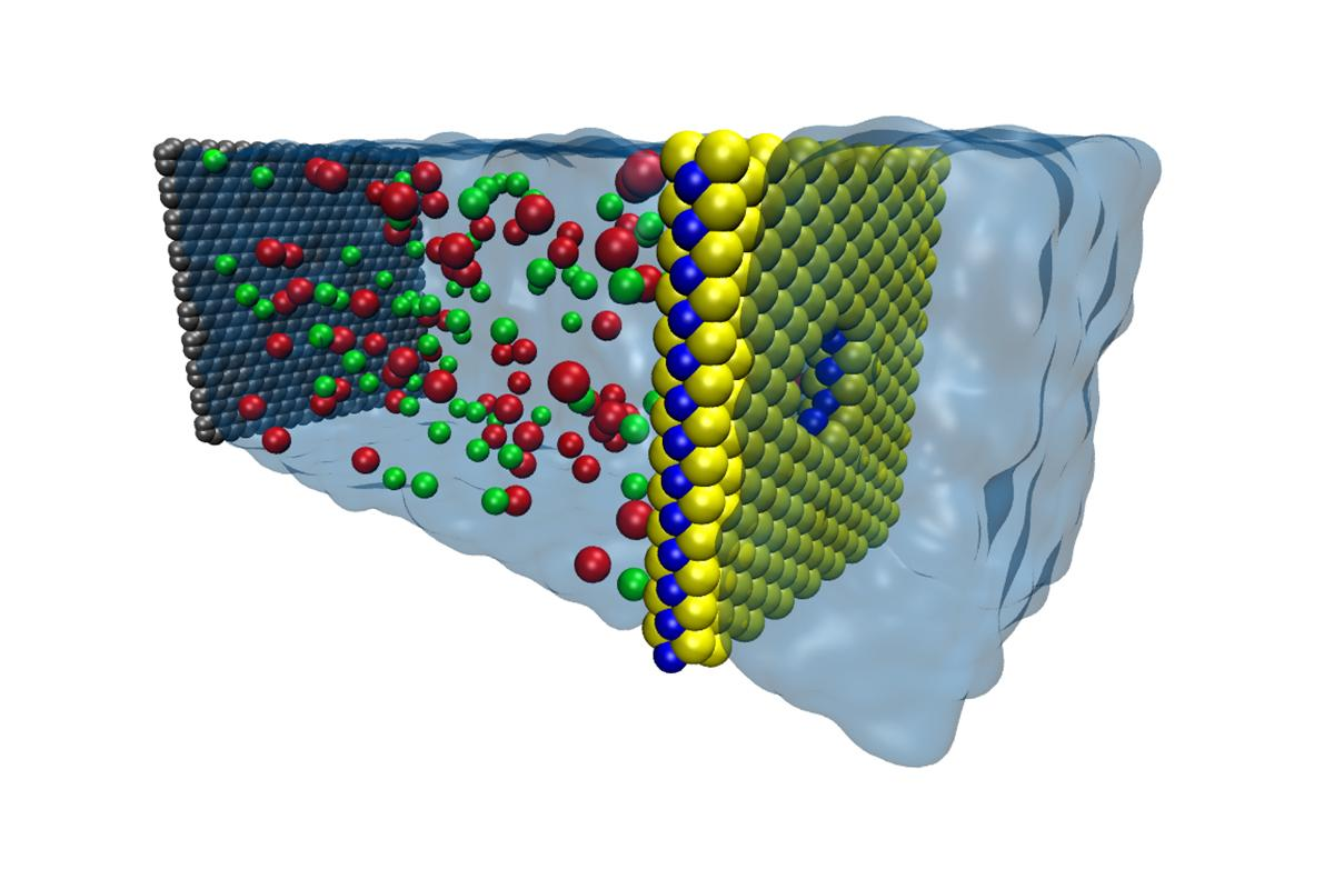 Schematic of a MoS2 sheet (molybdenum in blue and sulfur in yellow) filtering salt water on the left to leave fresh water on the right