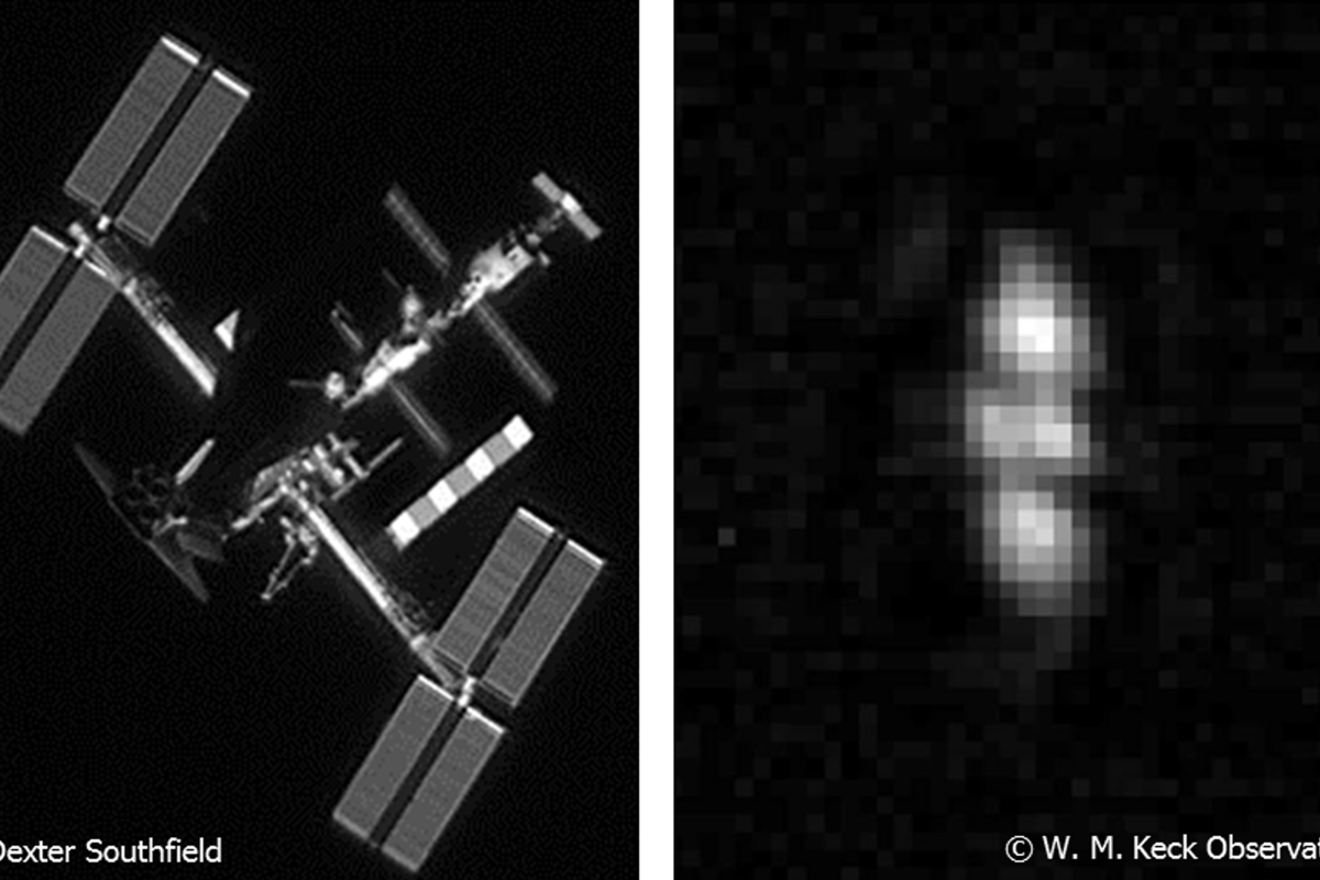 "Imagery of objects in low Earth orbit (left) compared with in geosynchronous Earth orbit – DARPA is seeking to develop ground-based imaging technologies that are ""up to 100 times more powerful than the current state of the art"""