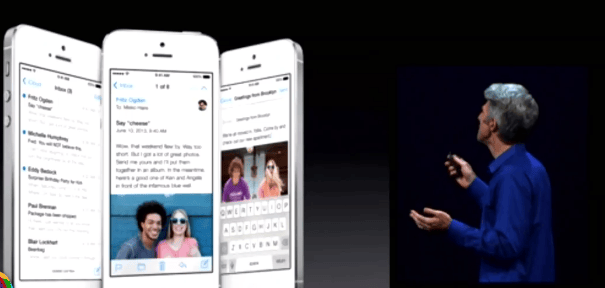 The new flatter, cleaner iOS 7 look
